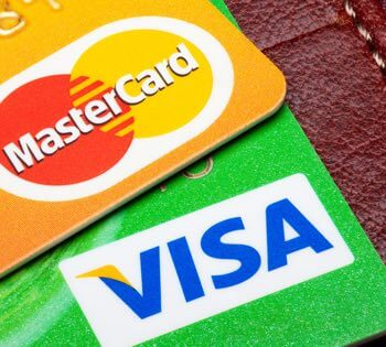 Visa og Mastercard mærker på kreditkort