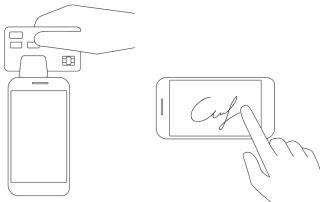 magnetstribe og underskriftsbetaling med kortlæser og smartphone