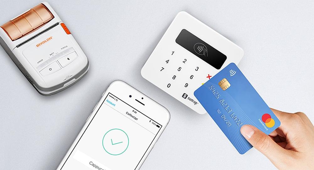 SumUp Air, bonprinter og iPhone med betalingskort