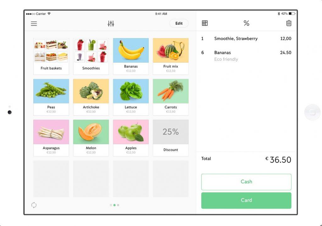 iZettle Go-produktmenu på iPad