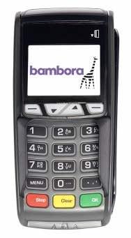 Ingenico iCT250-terminal med Bambora-logo