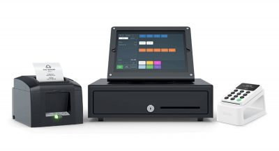 iZettle Reader 2 på Dock 2 med bonprinter, iPad og pengeskuffe